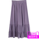skirt Summer 2020 Average size Black, raspberry purple longuette commute High waist Cake skirt Solid color Type A 910df Other / other other Ruffles, stitching Korean version