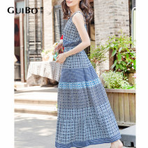 Dress Summer 2020 Pink Blue S M L Mid length dress singleton  Sleeveless Sweet other High waist lattice Socket Big swing other camisole 25-29 years old Type A More than 95% Chiffon polyester fiber Polyester 100% Countryside Pure e-commerce (online only)
