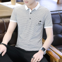 T-shirt Youth fashion routine 165/M 170/L 175/XL 180/XXL 185/XXXL OSACHI Short sleeve Shirt collar Self cultivation Other leisure summer OH-070 Cotton 95% polyurethane elastic fiber (spandex) 5% teenagers routine like a breath of fresh air Spring of 2019 stripe printing Geometric pattern