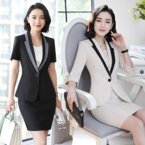 Professional dress suit Summer of 2018 three quarter sleeve Jacket, other styles Suit skirt 25-35 years old 71% (inclusive) - 80% (inclusive) polyester fiber