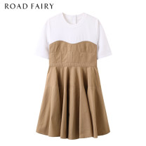 Dress Summer 2021 Yellowish brown XS,S,M Short skirt singleton  Short sleeve commute Crew neck High waist Solid color zipper A-line skirt routine Others 25-29 years old Type A Yididisin Korean version Ruffles, ruffles, buttons 31% (inclusive) - 50% (inclusive) other cotton