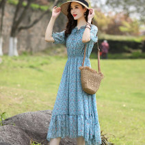 Dress Summer 2021 Red, blue M,L,XL,2XL Mid length dress singleton  Short sleeve commute V-neck Elastic waist Decor Socket A-line skirt other Others 30-34 years old Type A Korean version Bowknot, flounce, Auricularia auricula, lace, asymmetric, bandage, printing ZL--2138 More than 95% Chiffon
