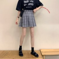 skirt Winter 2020 XS,S,M,L,XL,2XL,3XL Check grey, check green, check yellow, check apricot Short skirt commute High waist Pleated skirt lattice Type A 18-24 years old Button, zipper Korean version