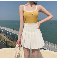 skirt Spring 2020 XS,S,M,L,XL White, gray, black, navy Short skirt commute High waist Pleated skirt Solid color Type A 18-24 years old Fold, button, zipper Korean version