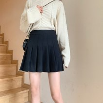 skirt Winter 2020 XS,S,M,L,XL,2XL Suit fabric - black, suit fabric - white, suit fabric - gray, suit fabric - bandage black, suit fabric - bandage white, tweed thickening - black Short skirt commute High waist Pleated skirt Solid color Type A 18-24 years old 91% (inclusive) - 95% (inclusive) fold