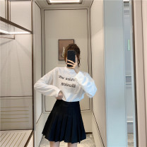 skirt Winter 2020 XS,S,M,L,XL,2XL,3XL white , black , grey , Navy , Pink , Green Grid , Gray grid , Yellow check , Apricot check Short skirt commute High waist Pleated skirt Solid color Type A 18-24 years old Fold, button, zipper Korean version