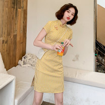 cheongsam Summer 2020 S M L XL XXL Yellow check short Short sleeve Short cheongsam Retro High slit daily Oblique lapel 18-25 years old Piping HLQ20027 Lotus love other Other 100% Pure e-commerce (online only)