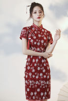 cheongsam Autumn 2020 S M L XL XXL Red flowers Short sleeve long cheongsam Countryside Low slit daily Oblique lapel Decor 18-25 years old Piping HLQ20248 Lotus love other Other 100% Pure e-commerce (online only) 96% and above