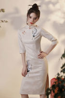 cheongsam Autumn 2020 S M L XL XXL Double winged cranes (delivery within 30 days after pre-sale) other long cheongsam Retro Low slit daily Oblique lapel other 18-25 years old Piping HLQ20266 Lotus love other Other 100% Pure e-commerce (online only) 96% and above