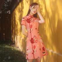 cheongsam Spring 2021 S M L XL XXL XXXL Summer foam Short sleeve Single cheongsam lady No slits daily Oblique lapel Decor 18-25 years old Piping HLQ21447 Lotus love other Other 100% Pure e-commerce (online only)