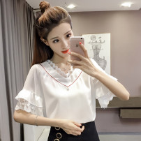 T-shirt Pink black [skirt] white light blue S M L XL 2XL Summer of 2018 Short sleeve V-neck easy have cash less than that is registered in the accounts Lotus leaf sleeve commute other 86% (inclusive) -95% (inclusive) Korean version youth Solid color HT3003