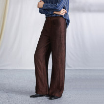 Casual pants Ochre red XS,S,M,L,XL Summer 2020 trousers Straight pants original routine 25-29 years old 96% and above K2540 Q.TU hemp hemp