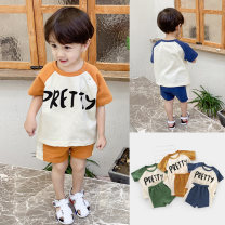 suit Shepherd boy riding cattle Green, khaki, Navy, white, off white, orange, gray, light blue, deep navy neutral summer leisure time Short sleeve + pants 2 pieces Thin money There are models in the real shooting Socket nothing Solid color children Learning reward Class A Cotton 95% polyester 5%