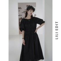Dress Summer 2020 White, black, peach powder M, L Mid length dress singleton  Short sleeve commute Crew neck Elastic waist Solid color Socket A-line skirt puff sleeve Others 18-24 years old Type A Retro Fold, splice 71% (inclusive) - 80% (inclusive) other Cellulose acetate