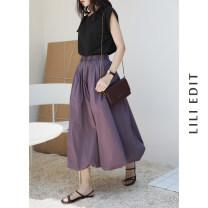 skirt Spring 2021 M, L White, black, purple Middle-skirt commute Natural waist A-line skirt Solid color Type A 71% (inclusive) - 80% (inclusive) brocade LILI EDIT cotton Korean version