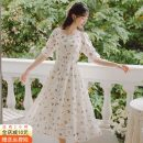 Dress Spring 2021 Picture color, picture color [quality version] S,M,L longuette singleton  Short sleeve commute square neck High waist Broken flowers Single breasted A-line skirt puff sleeve Others 18-24 years old Type A Other / other Korean version Print, button a3124# cotton