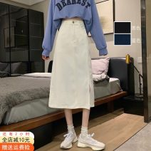 skirt Spring 2021 S,M,L White, blue, black, white [premium], blue [premium], black [premium] Mid length dress commute High waist A-line skirt Solid color Type A 18-24 years old 51% (inclusive) - 70% (inclusive) Denim Other / other cotton Button, pocket Korean version