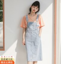 Dress Summer 2021 Off white, denim blue S,M,L Mid length dress singleton  commute High waist Solid color other straps 18-24 years old Other / other Korean version Button, pocket 51% (inclusive) - 70% (inclusive) Denim cotton