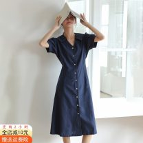 Dress Summer 2020 Medium length skirt singleton  Short sleeve commute V-neck High waist Solid color Single breasted A-line skirt puff sleeve Others 18-24 years old Type A Other / other Korean version Button, strap 8815-o 51% (inclusive) - 70% (inclusive) cotton S,M,L,XL