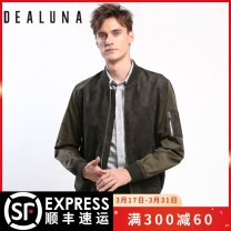 Jacket Dealuna / dilona Youth fashion Olive green S M L XL XS XXL XXXL routine standard Other leisure winter M18452M05 Polyester 100% Long sleeves Wear out Baseball collar Youthful vigor youth Zipper placket Rubber band hem Closing sleeve polyester fiber Winter of 2018 More than two bags)