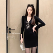 Dress Winter 2020 Black, white Average size Short skirt singleton  Long sleeves commute V-neck High waist Solid color Socket A-line skirt routine 25-29 years old Type A Cloud Season Splicing knitting polyester fiber