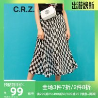 skirt Summer of 2018 S/160,M/165,L/170,XL/175 Black K01, green L51 Mid length dress commute Natural waist A-line skirt lattice Type A 25-29 years old CDL2B485 More than 95% CRZ cotton Ol style
