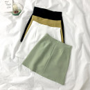 skirt Summer 2021 S,M,L White, black, lemon yellow, fruit green Short skirt commute High waist A-line skirt Solid color Type A 18-24 years old zipper Korean version