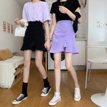 skirt Summer 2021 S,M,L,XL Purple, black Short skirt commute High waist Ruffle Skirt Solid color Type A 18-24 years old Korean version
