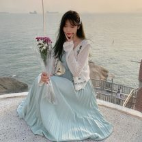 Dress Spring 2021 Strap dress piece, lace cardigan piece Average size Mid length dress singleton  Sleeveless commute V-neck High waist Solid color Socket camisole 18-24 years old Type A Korean version