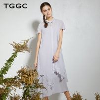 Dress Summer of 2019 Summer night + white smoke, grey purple 155/80A/S 160/84A/M 165/88A/L 170/92A/XL 175/96A/XXL Mid length dress Two piece set Short sleeve commute Polo collar middle-waisted Single breasted A-line skirt routine 25-29 years old Type A Tggc / Taiwan embroidery lady Embroidered button