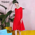 Dress Autumn 2020 Black ink, red flame 155/80A/S 160/84A/M 165/88A/L 170/92A/XL 175/96A/XXL Mid length dress singleton  Long sleeves commute Crew neck middle-waisted Solid color Socket A-line skirt routine Others 30-34 years old Type A Tggc / Taiwan embroidery lady Irregular fold CF27976 Chiffon