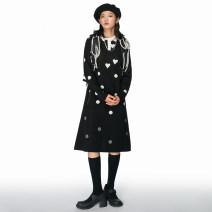 Dress Winter 2020 black S, M Mid length dress singleton  Long sleeves commute Polo collar Loose waist Dot Socket A-line skirt routine Type H Studio1till8 Retro cotton