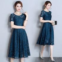 Women's large Summer of 2018 Black [short sleeve version] red [short sleeve version] peacock blue [short sleeve version] M [90-105 Jin] l [105-115 Jin] XL [115-130 Jin] 2XL [130-142] 3XL [142-160 Jin] 4XL [160-175 Jin] 5XL [175-190 Jin] Dress singleton  commute Self cultivation moderate Socket Q6029