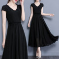 Women's large Summer 2021 Black red Dress singleton  commute moderate Socket Short sleeve Solid color Simplicity Polyester cotton Three dimensional cutting routine Looking forward to the moon 25-29 years old fungus Polyester 95% polyurethane elastic fiber (spandex) 5% zipper