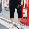 Casual pants Others Youth fashion black 3XL -- recommend 190-210 kg, 4XL -- recommend 210-230 kg, 5XL -- recommend 230-250 kg, 6xl -- recommend 250-270 kg, 7XL -- recommend 270-300 kg routine Cropped Trousers motion easy get shot autumn Large size Youthful vigor 2021 middle-waisted Little feet cotton