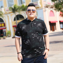 T-shirt Youth fashion Black, royal blue thin 2XL - recommend 170-190 kg, 3XL - recommend 190-210 kg, 4XL - recommend 210-230 kg, 5XL - recommend 230-250 kg, 6xl - recommend 250-270 kg, 7XL - recommend 270-300 kg Others Short sleeve stand collar easy daily summer X19 Large size routine tide 2018