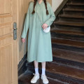 Dress Autumn 2020 Greyish green black M L longuette singleton  Long sleeves commute Hood Loose waist Solid color Socket other routine 18-24 years old Wanyan Korean version Button Drawstring T073 71% (inclusive) - 80% (inclusive) polyester fiber Polyester 75% cotton 25% Exclusive payment of tmall