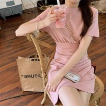 Dress Summer 2021 Pink grey S M L XL Miniskirt singleton  Short sleeve Sweet Crew neck middle-waisted Solid color Irregular skirt routine Others 18-24 years old Love orchid More than 95% other other Other 100% Mori Pure e-commerce (online only)