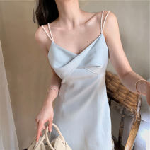 Dress Summer 2021 White blue S M L XL Short skirt singleton  Sleeveless commute V-neck High waist Solid color Socket A-line skirt routine camisole 18-24 years old Love orchid Korean version backless More than 95% Chiffon other Other 100% Pure e-commerce (online only)