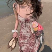 Dress Summer 2021 Picture color S M L XL Miniskirt singleton  Sleeveless Sweet other middle-waisted Broken flowers other routine Others 18-24 years old Love orchid More than 95% Chiffon other Other 100% Bohemia Pure e-commerce (online only)