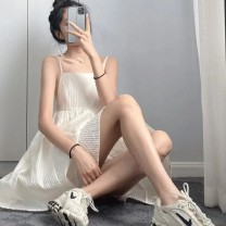 Dress Summer 2021 white S M L XL XXL Short skirt singleton  Sleeveless commute One word collar High waist Solid color Socket A-line skirt routine camisole 18-24 years old Love orchid Korean version backless More than 95% polyester fiber Polyester 100% Pure e-commerce (online only)