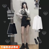 Women's large Autumn 2020 S,M,L,XL Three piece set Sweet Cardigan Long sleeves Polo collar routine 6616JIH23 18-24 years old Short skirt solar system