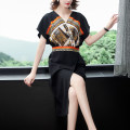 Dress Summer 2020 black S,M,L,XL,2XL Mid length dress singleton  Short sleeve Crew neck middle-waisted Socket routine Others 35-39 years old