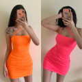 Dress Autumn 2020 White, pink, orange S,M,L Middle-skirt singleton  Sleeveless other Solid color other routine Others ZY9922 knitting