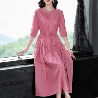 Dress Spring 2021 Pink, blue S,M,L,XL,2XL longuette singleton  three quarter sleeve commute Crew neck middle-waisted Solid color other Big swing routine Others 40-49 years old Type X Simplicity Fold, lace, button, resin fixation More than 95% other hemp
