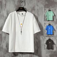 T-shirt Youth fashion White, light gray, dark gray, black, khaki, light green, treasure blue, cowboy blue, fruit green, orange, turquoise routine M. L, XL, 2XL, 3XL, s (small), 4XL, 5XL, XS (plus small) Others Short sleeve Crew neck easy Travel? summer teenagers tide 2020 other washing
