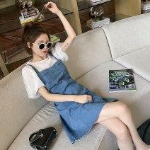Dress Summer 2020 White dress + denim strap skirt S M L XL Mid length dress Two piece set Short sleeve commute Crew neck High waist Solid color Socket A-line skirt puff sleeve straps 18-24 years old Shaxu Korean version 71% (inclusive) - 80% (inclusive) other polyester fiber Polyester 80% other 20%