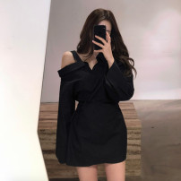 Dress Autumn of 2019 White, black, pink S M L XL Mid length dress singleton  Long sleeves commute V-neck High waist Solid color other A-line skirt other Others 18-24 years old Type A Shaxu Korean version 71% (inclusive) - 80% (inclusive) polyester fiber Polyester 80% other 20%