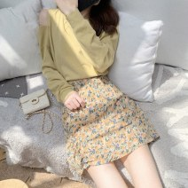 Dress Summer 2021 Picture color two piece set S M L XL Mid length dress Two piece set Long sleeves commute Crew neck High waist other Socket A-line skirt routine Others 18-24 years old Shaxu Korean version 71% (inclusive) - 80% (inclusive) other polyester fiber Polyester 80% other 20%