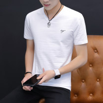 T-shirt Youth fashion T122 white, T122 apricot, T122 light blue, t138 white, t138 apricot, t138 light blue thin M,L,XL,2XL,3XL,4XL Others Short sleeve V-neck Self cultivation Other leisure summer caj2356 youth routine tide Cotton wool 2021 Solid color printing cotton Creative interest Fashion brand